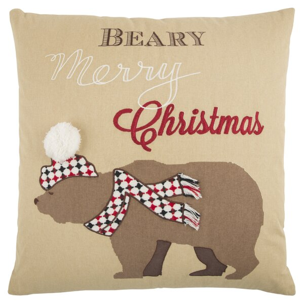 Snow Bear 100% Cotton Throw Pillow by The Holiday Aisle